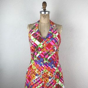 Vintage l MerryMary Colorful Floral Mod Maxi Dress